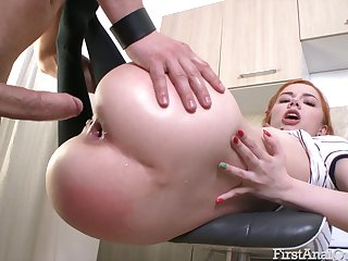 Kira Roller loves to have her knee highs on during anal action