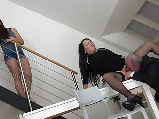 Man is determined to fuck this chubby mature and her young niece