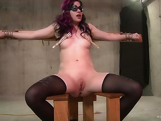Blindfolded and tied teen slave forced a cock down her throat
