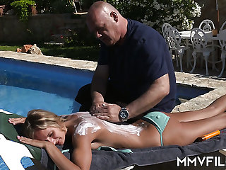 Bald headed stud is totally into banging Jenny Smart's tight pussy doggy
