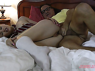 Cutie in white stockings Lola Taylor is fucked by nerdy rich bastard