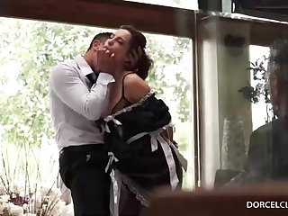 Mischievous dark-haired maid, Nikita Bellucci luvs to get 2 rock hard spunk-pumps, at the same time