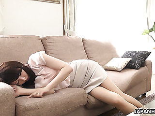 Lovely Japanese cutie Noeru Mitsushima is ready to give a BJ during interview