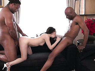 Bold Japanese girl Kyoko Nakajima is ready for interracial MMF threesome