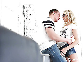 Horn-mad Ukrainian Stefy Shee gives head after some doggy banging