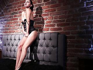Kinky solo show of charming svelte girlie in sexy black stuff Aliana