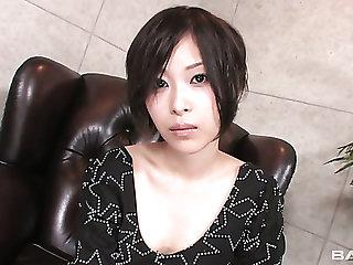 Ardent Japanese Kelly Anne with sexy big titties gonna masturbate herself