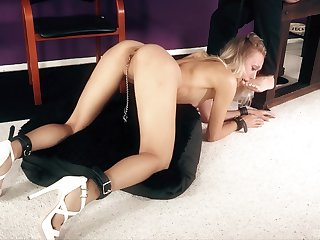 Amazing torture session with mouth fucking for skinny Natasha Voya